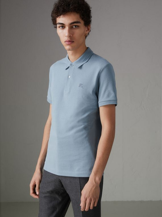 Daisy Print Trim Cotton Piqué Polo Shirt in Dusty Teal Blue