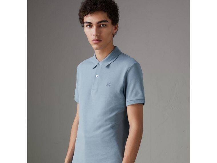 Print Trim Cotton Piqué Polo Shirt in Dusty Teal Blue - Men | Burberry - cell image 4