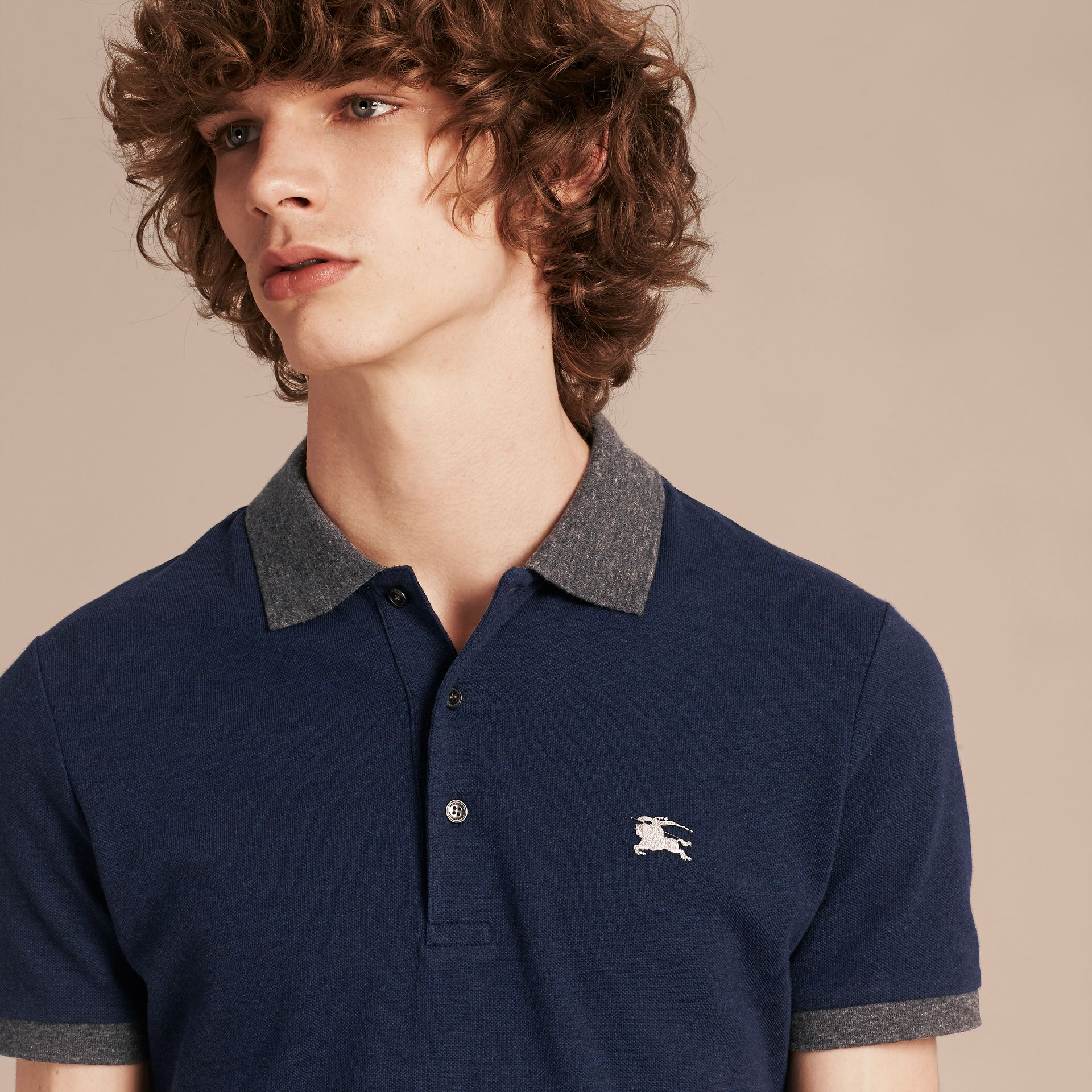 Navy melange Contrast Colour Detail Cotton Piqué Polo Shirt Navy Melange - gallery image 5