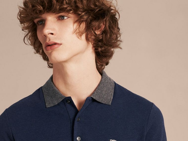 Navy melange Contrast Colour Detail Cotton Piqué Polo Shirt Navy Melange - cell image 4
