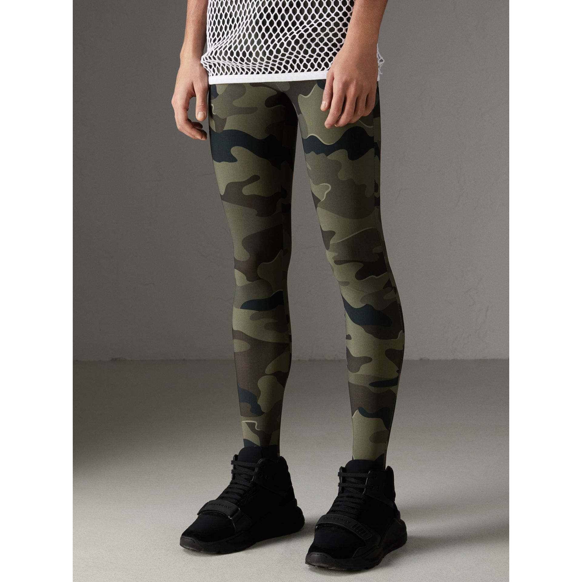 Camouflage Print Stretch Jersey Leggings in Slate Green | Burberry - gallery image 4