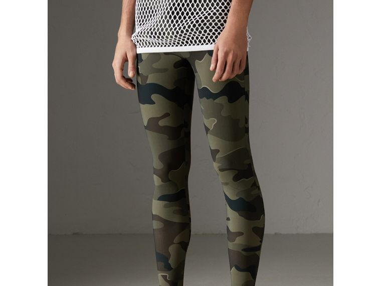 Camouflage Print Stretch Jersey Leggings in Slate Green | Burberry - cell image 4