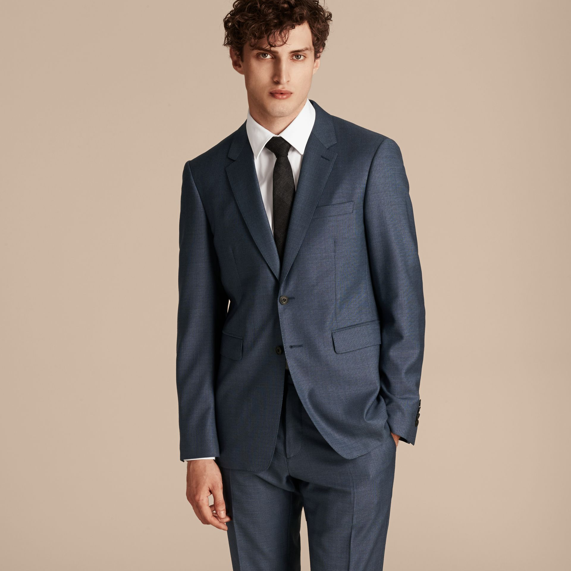 Airforce blue Modern Fit Travel Tailoring Wool Suit - gallery image 6