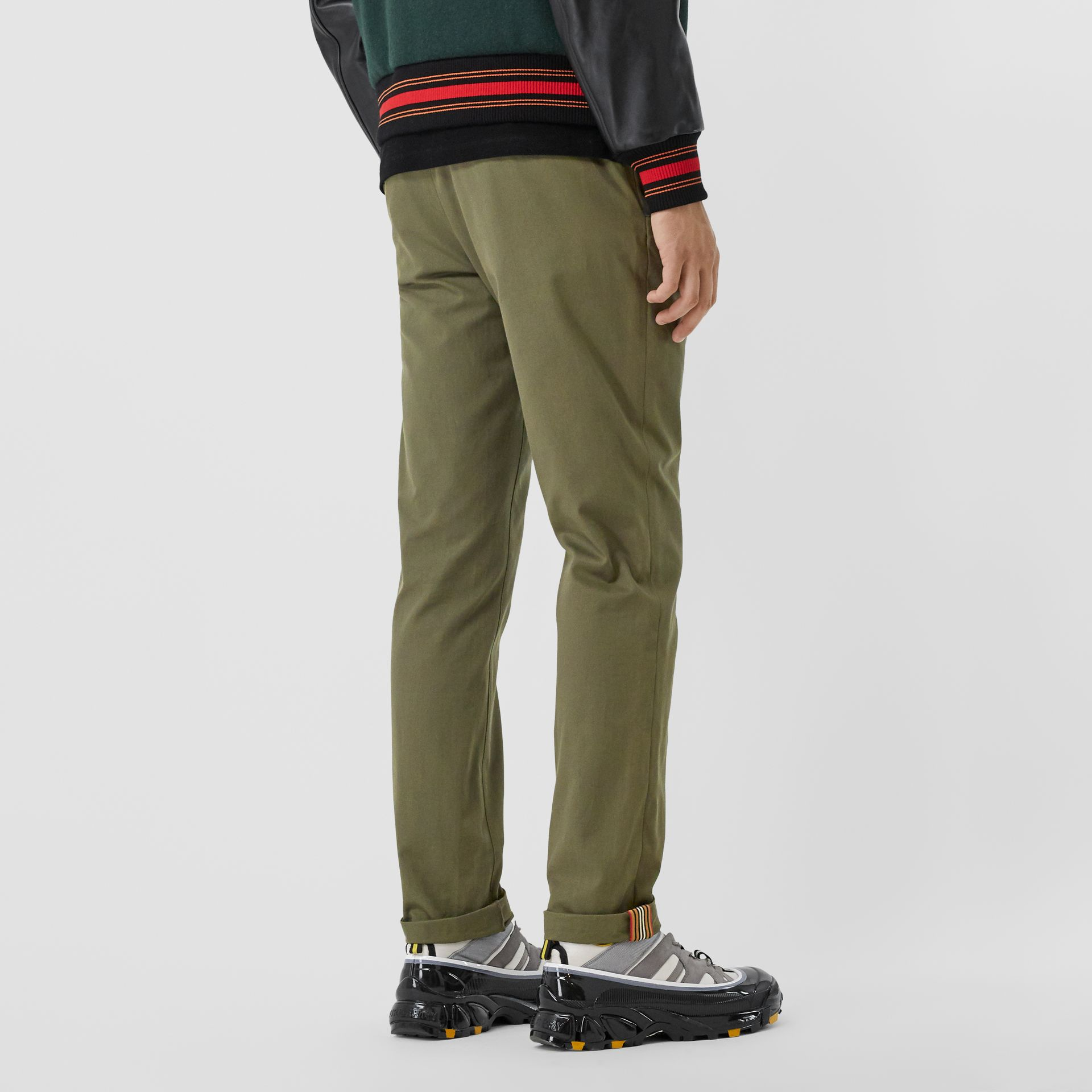 Slim Fit Cotton Chinos in Olive - Men | Burberry - gallery image 2