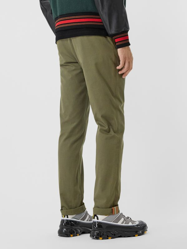 Slim Fit Cotton Chinos in Olive - Men | Burberry - cell image 2