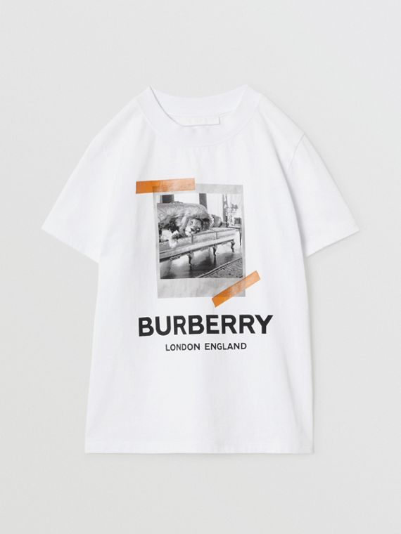 Vintage Polaroid Print Cotton T-shirt in White