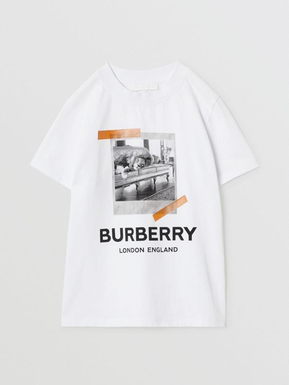 Camiseta de algodão com estampa Polaroid vintage (Branco)