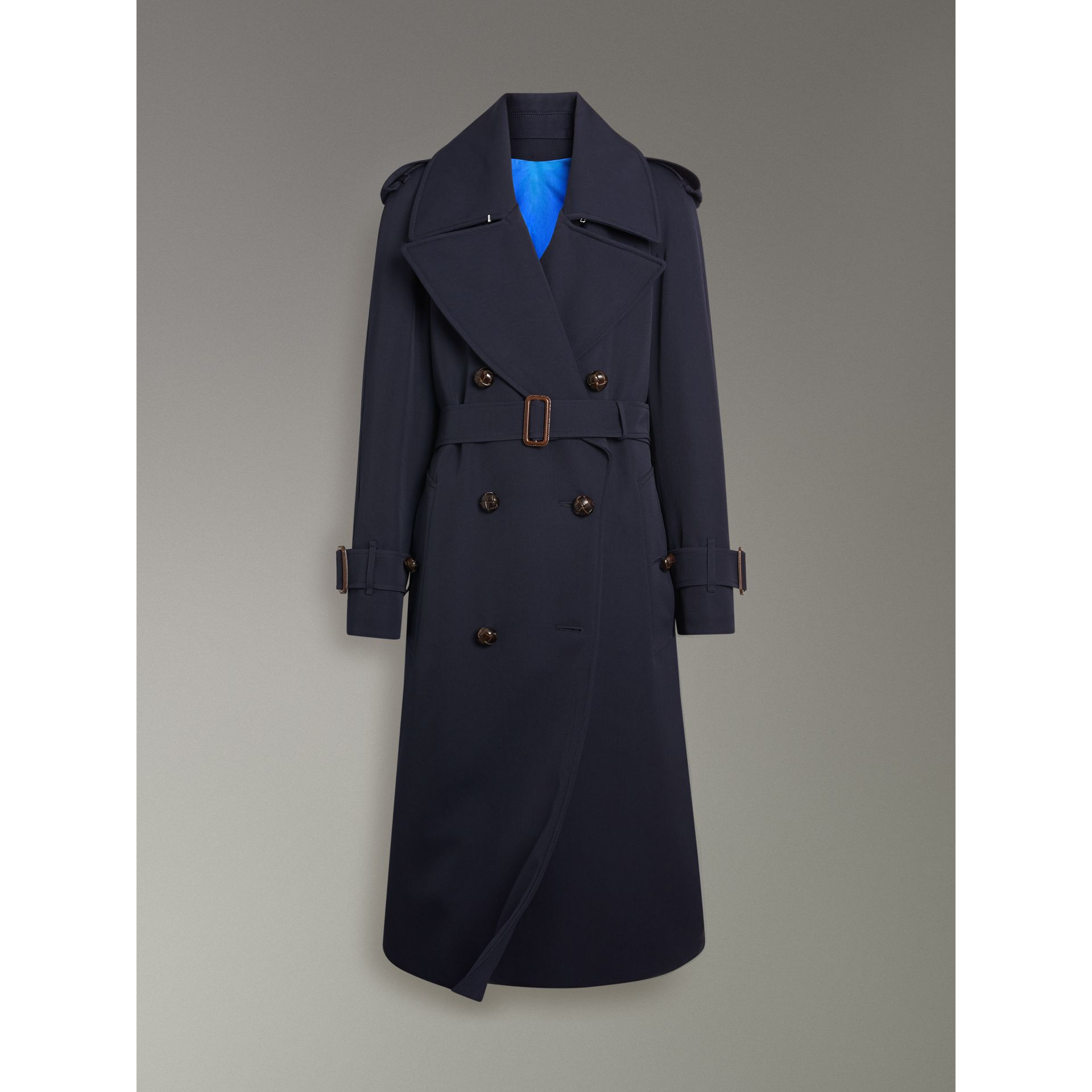 Oversized Lapel Wool Gabardine Trench Coat in Navy - Women | Burberry - gallery image 3