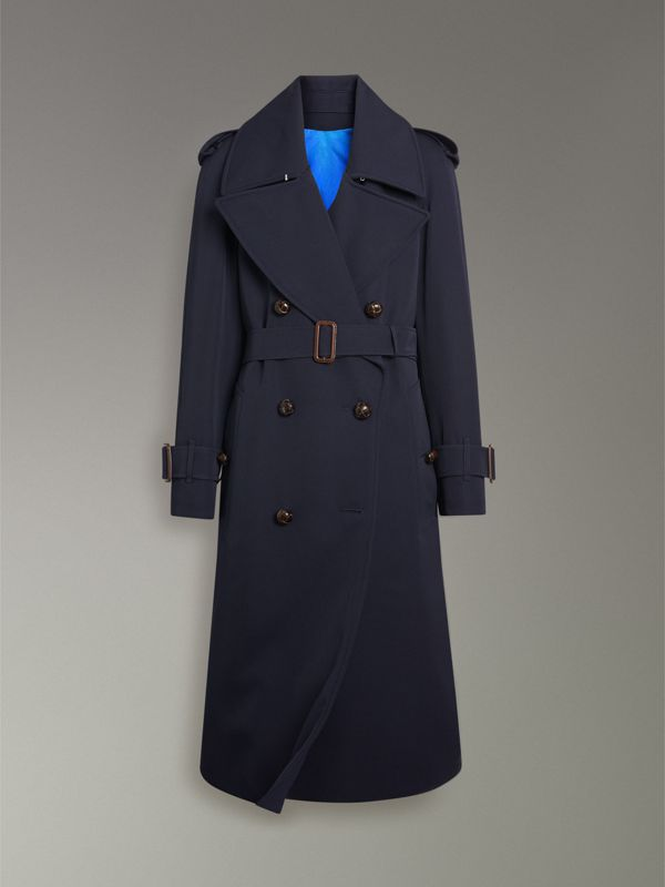 Oversized Lapel Wool Gabardine Trench Coat in Navy - Women | Burberry - cell image 3