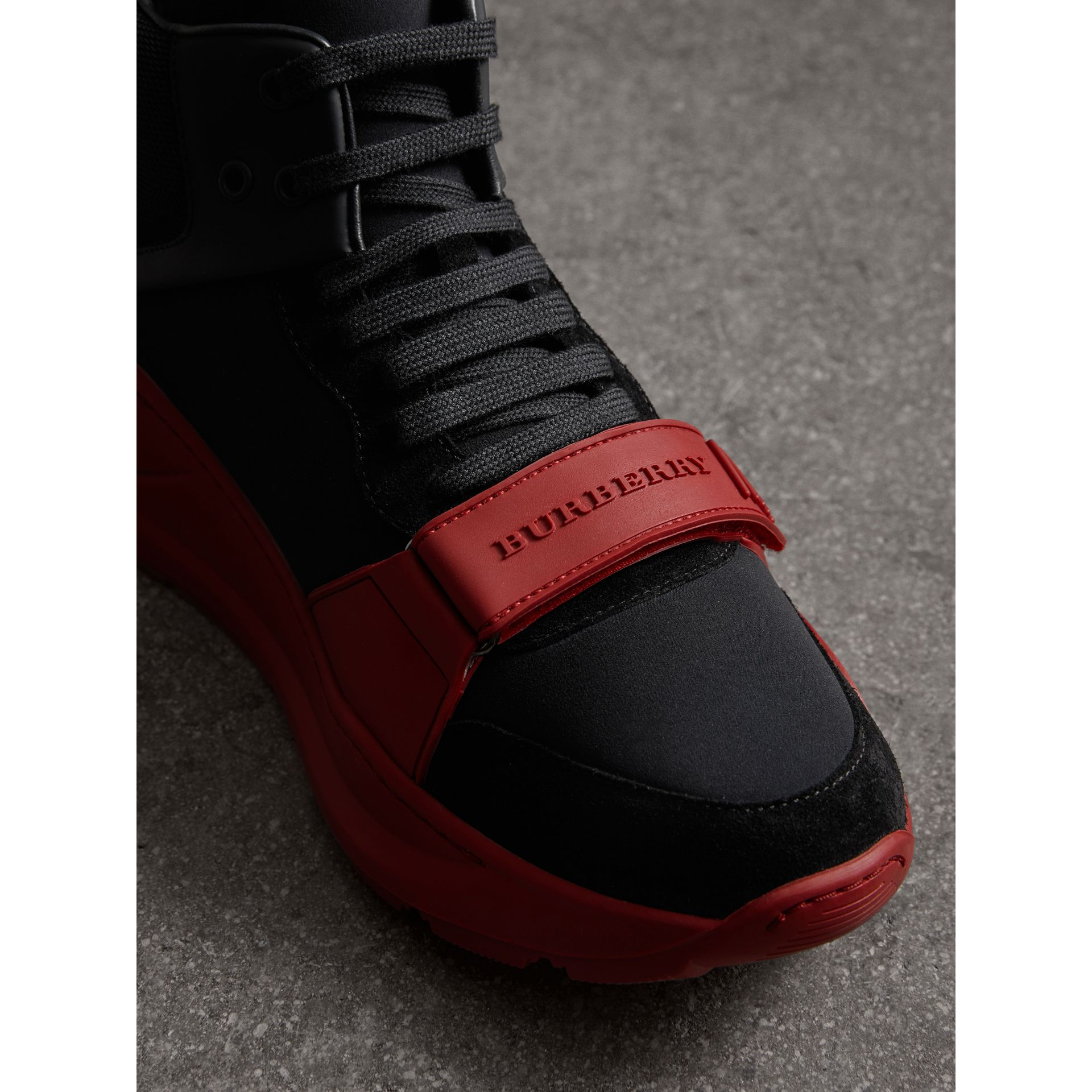 Suede Trim Neoprene High-top Sneakers in Black/military Red | Burberry - gallery image 1