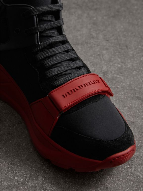 Suede and Neoprene High-top Sneakers in Black/military Red | Burberry Australia - cell image 1