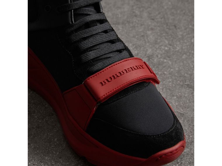 Suede Trim Neoprene High-top Sneakers in Black/military Red | Burberry - cell image 1