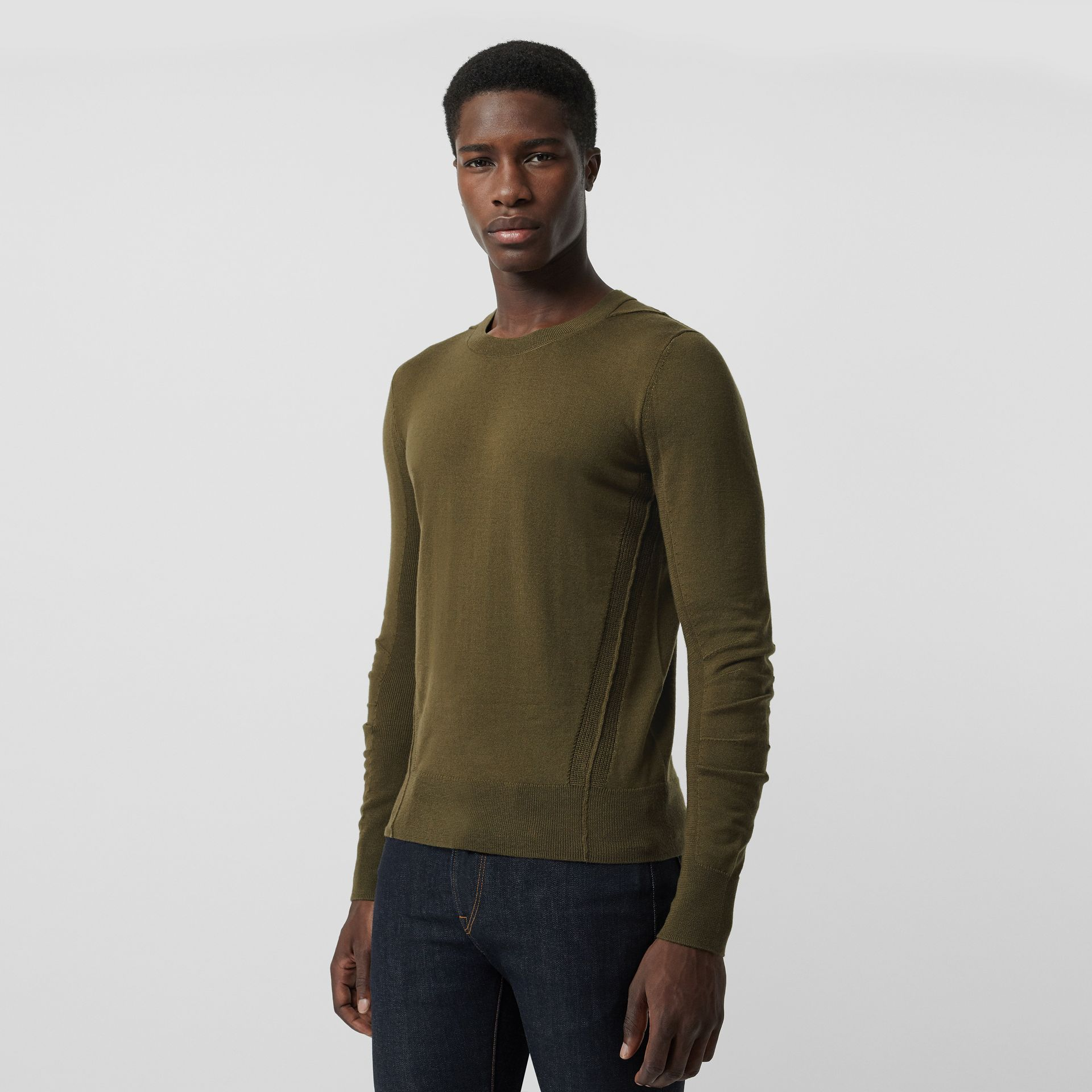 Rib Knit Detail Merino Wool Sweater in Olive Green - Men | Burberry Singapore - gallery image 4