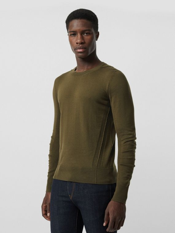 Rib Knit Detail Merino Wool Sweater in Olive Green