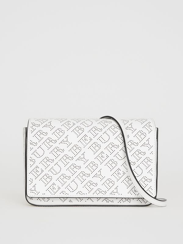 Perforated Logo Leather Wallet with Detachable Strap in White - Women | Burberry - cell image 2