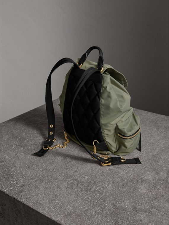 The Medium Rucksack in Technical Nylon and Leather in Thistle Grey - Women | Burberry Hong Kong - cell image 3
