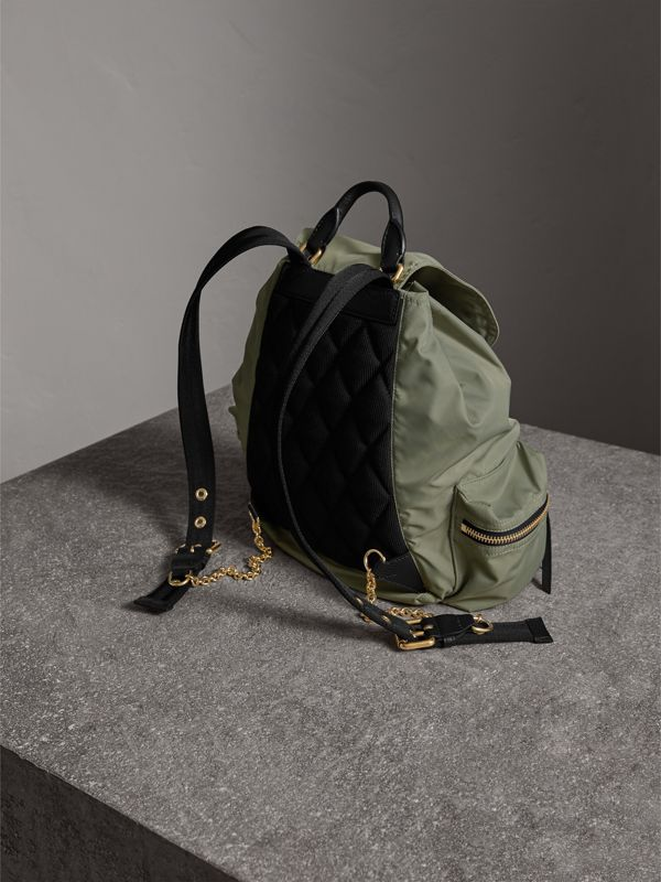 The Medium Rucksack in Technical Nylon and Leather in Thistle Grey - Women | Burberry - cell image 3