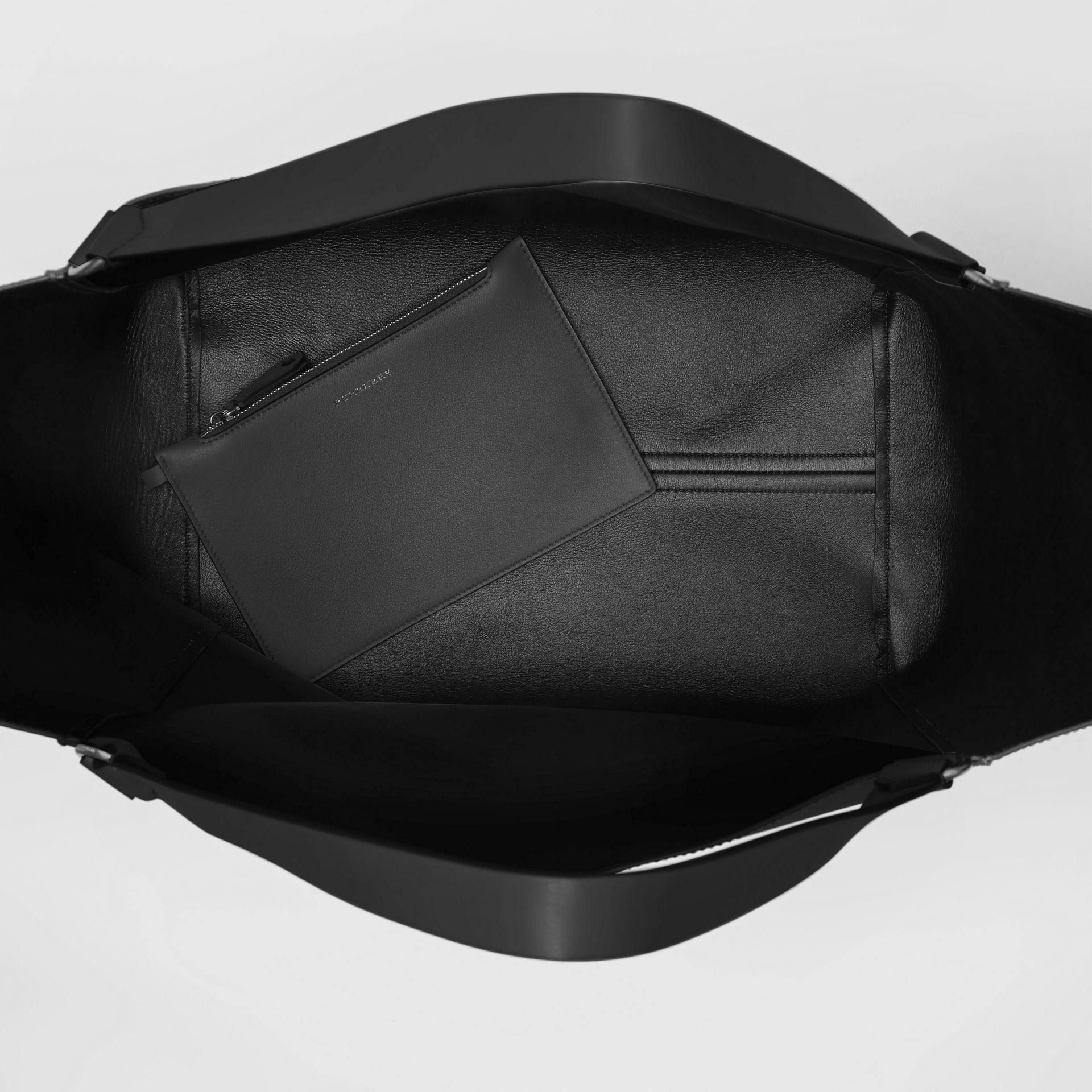Large Embossed Crest Bonded Leather Tote in Black - Men | Burberry United States - gallery image 5