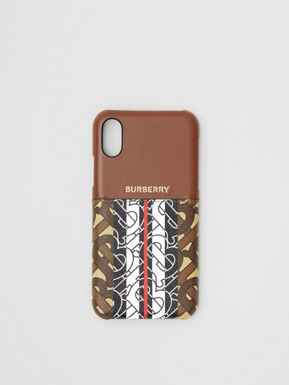 Leather and Monogram Stripe E-canvas iPhone X/XS Case in Bridle Brown