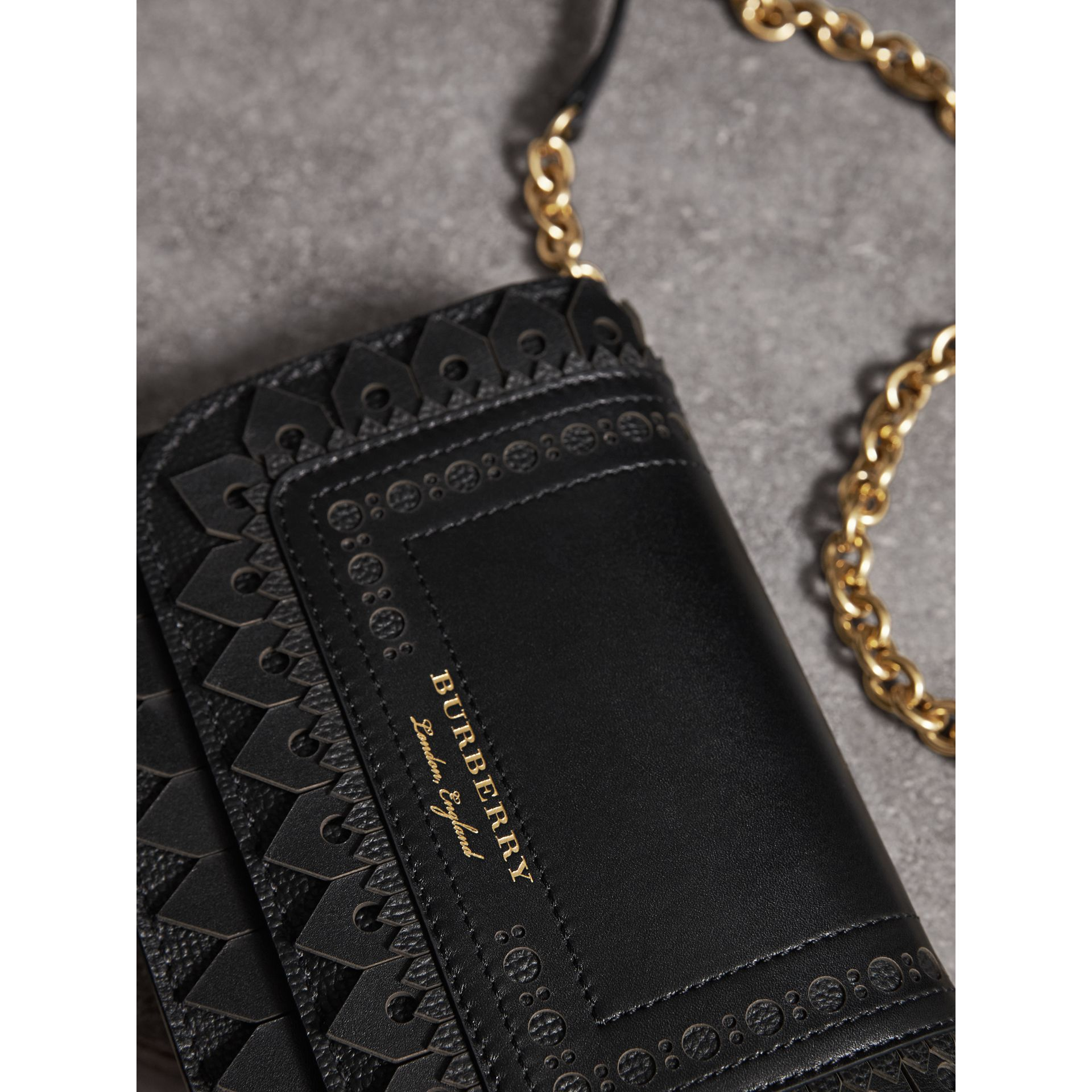 Brogue Detail Leather Wallet with Detachable Strap in Black - Women | Burberry - gallery image 1