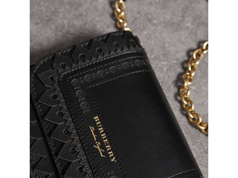 Brogue Detail Leather Wallet with Detachable Strap in Black - Women | Burberry - cell image 1