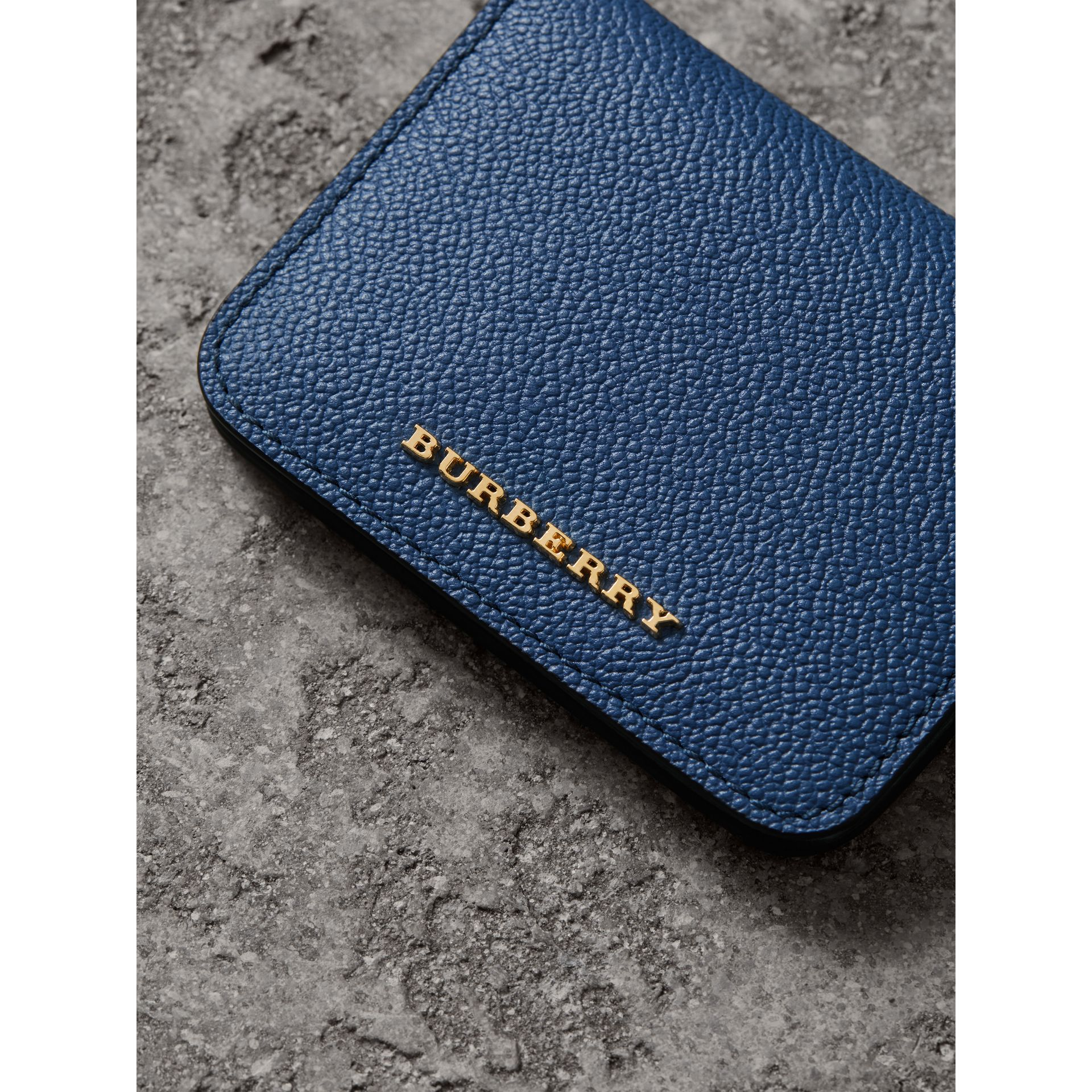 Leather and Haymarket Check ID Card Case Charm in Steel Blue/multi - Women | Burberry - gallery image 1