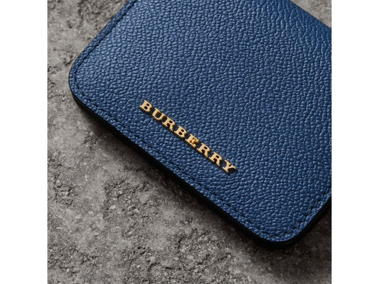 Leather and Haymarket Check ID Card Case Charm in Steel Blue/multi - Women | Burberry - cell image 1