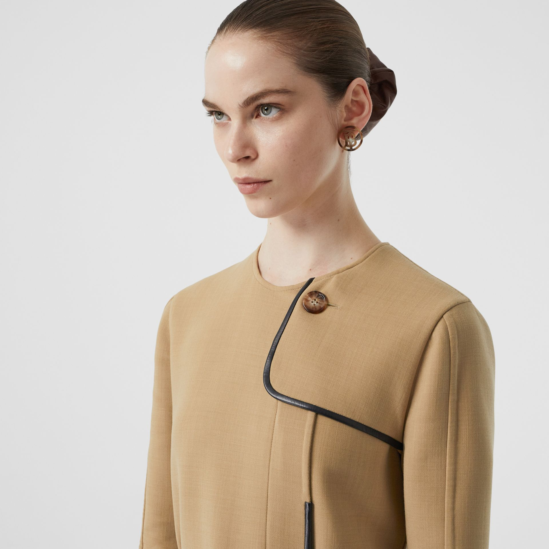 Lambskin Trim Technical Wool Belted Dress in Honey - Women | Burberry Australia - gallery image 1