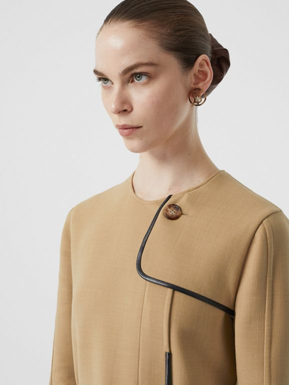 Lambskin Trim Technical Wool Belted Dress in Honey - Women | Burberry Australia - cell image 1