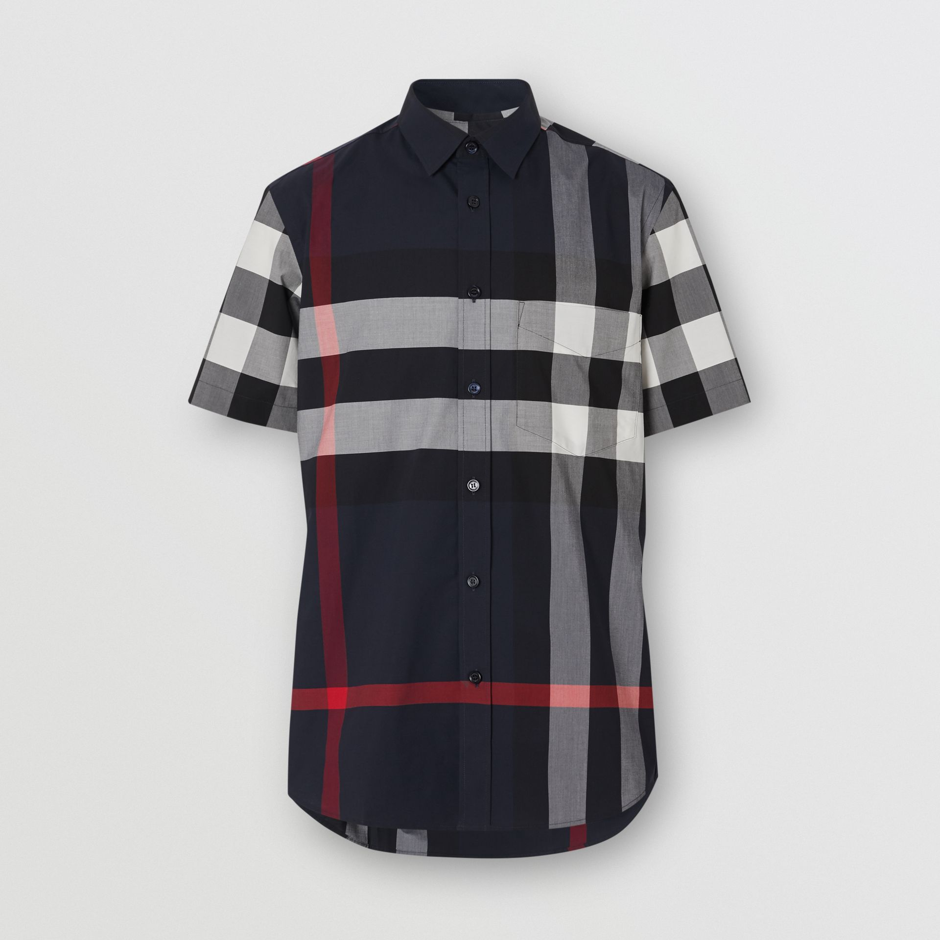 Short-sleeve Check Stretch Cotton Poplin Shirt in Navy - Men | Burberry - gallery image 3