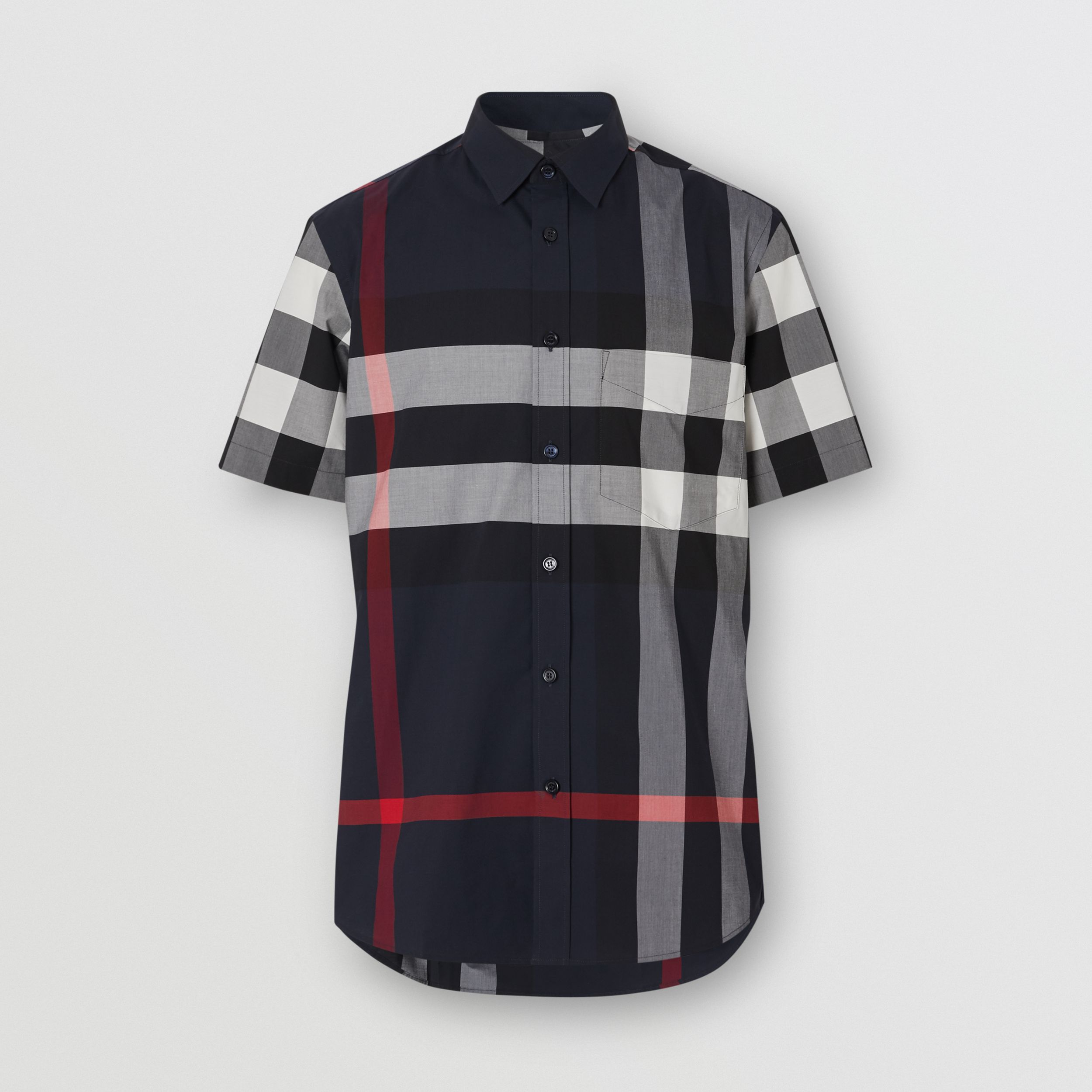 Short-sleeve Check Stretch Cotton Poplin Shirt in Navy - Men | Burberry - 4
