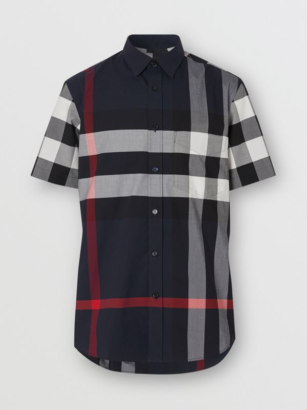 Short-sleeve Check Stretch Cotton Poplin Shirt in Navy - Men | Burberry - cell image 3