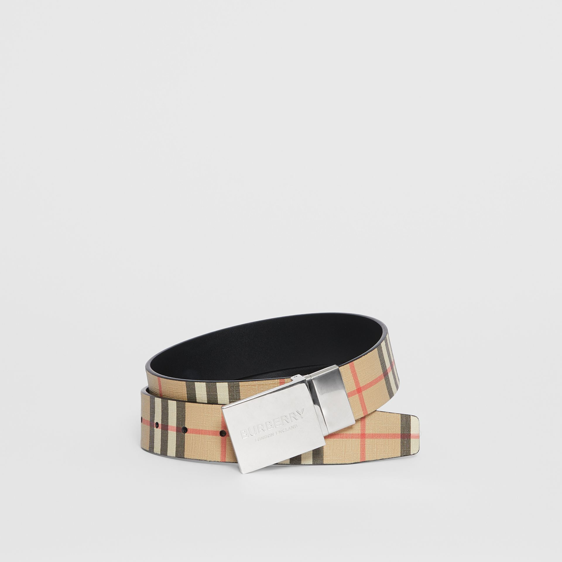 Reversible Plaque Buckle Vintage Check E-canvas Belt in Archive Beige - Men | Burberry Australia - gallery image 0