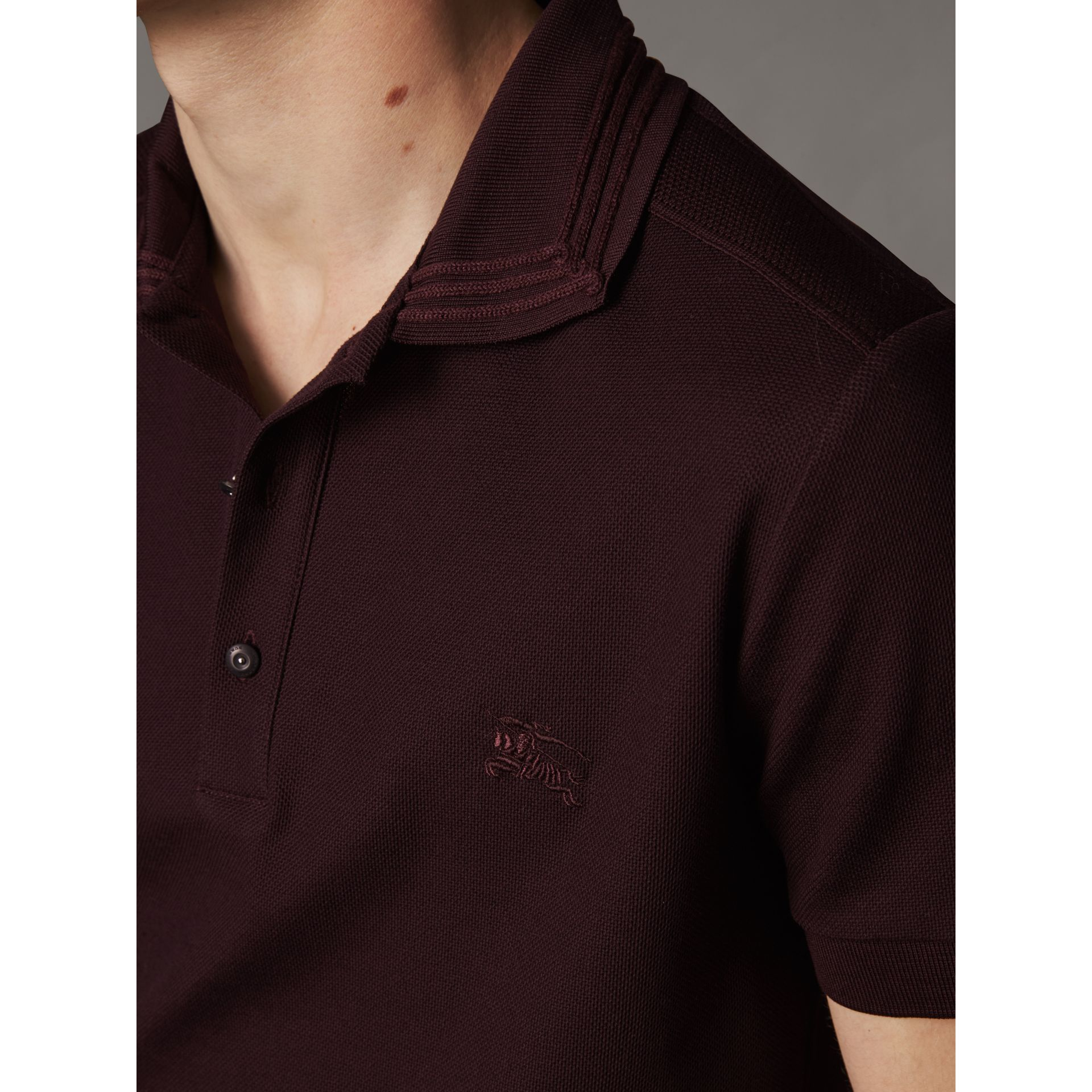 Embroidered Detail Cotton Piqué Polo Shirt in Blackcurrant - Men | Burberry - gallery image 2