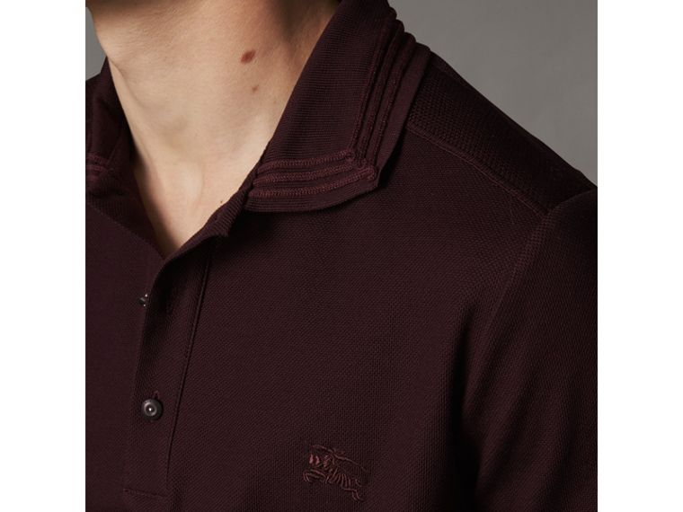 Embroidered Detail Cotton Piqué Polo Shirt in Blackcurrant - Men | Burberry - cell image 1
