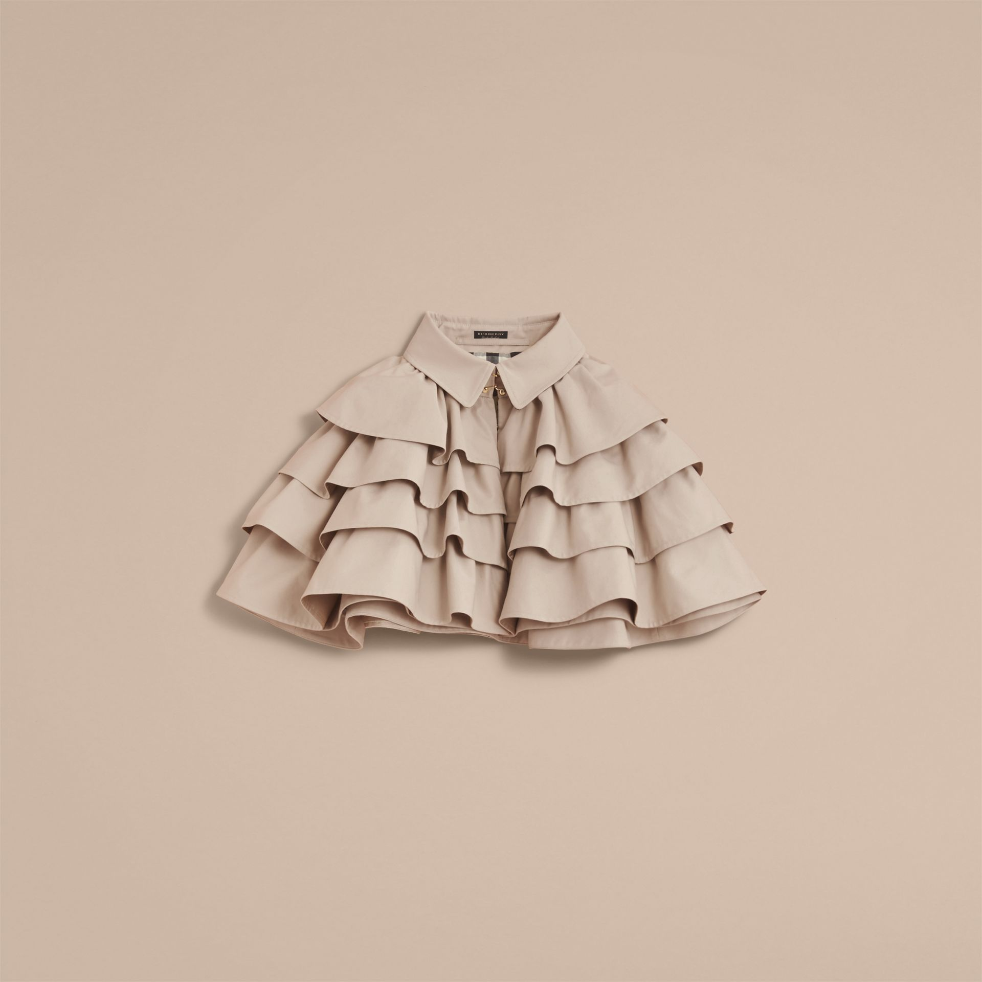 Cotton Gabardine Gathered Capelet in Stone - Women | Burberry - gallery image 3