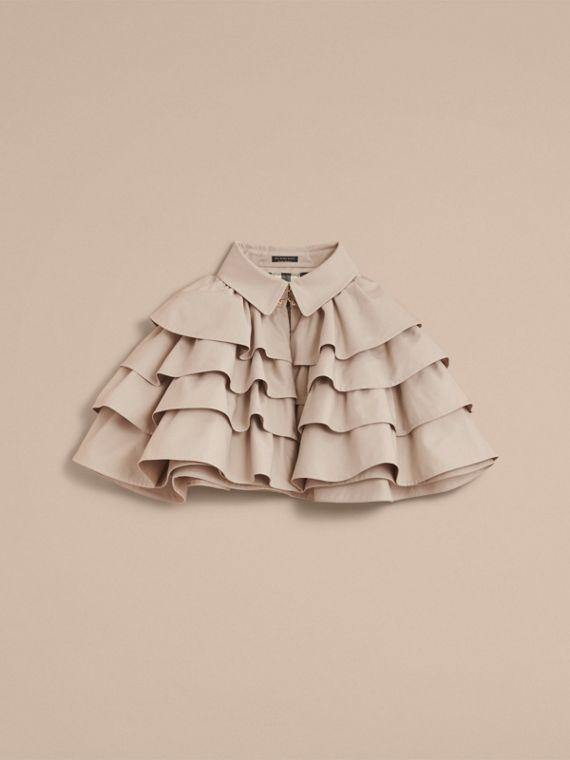 Cotton Gabardine Gathered Capelet in Stone - Women | Burberry - cell image 3