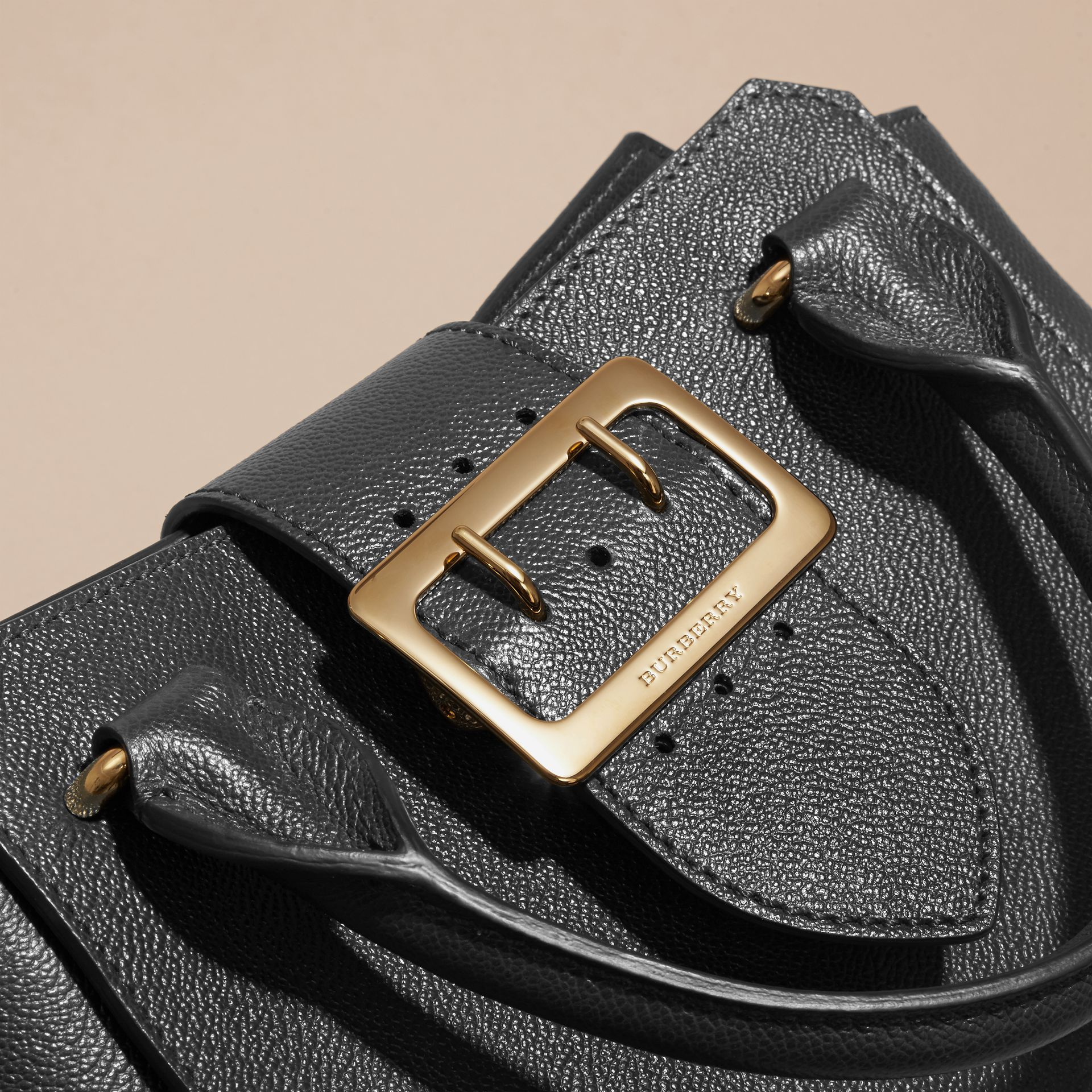 The Small Buckle Tote in Grainy Leather Black - gallery image 2