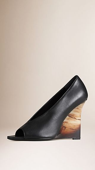Leather Peep-toe Wedge Pumps
