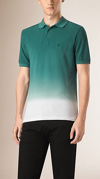 Dip Dye Cotton Piqué Polo Shirt