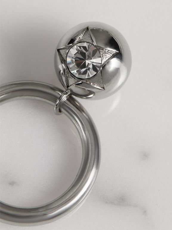 Crystal Charm Palladium-plated Ring in Palladio/crystal - Women | Burberry United Kingdom - cell image 1