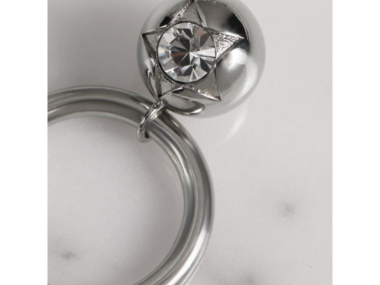 Crystal Charm Palladium-plated Ring in Palladio/crystal - Women | Burberry - cell image 1