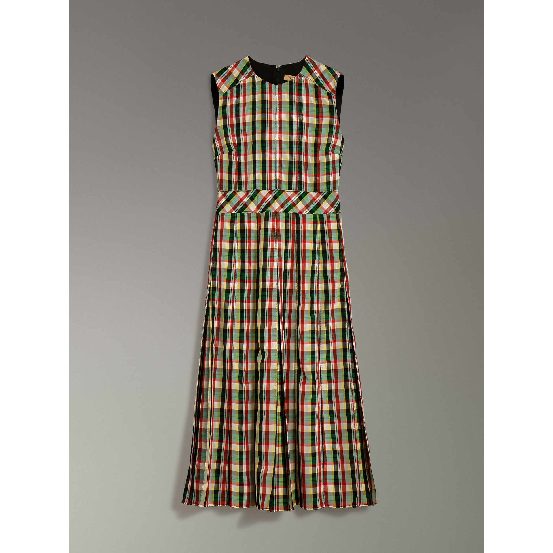 Sleeveless Pleat Detail Check Georgette Dress in Pine Green - Women | Burberry United Kingdom - gallery image 3