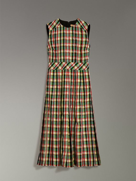 Sleeveless Pleat Detail Check Georgette Dress in Pine Green - Women | Burberry - cell image 3