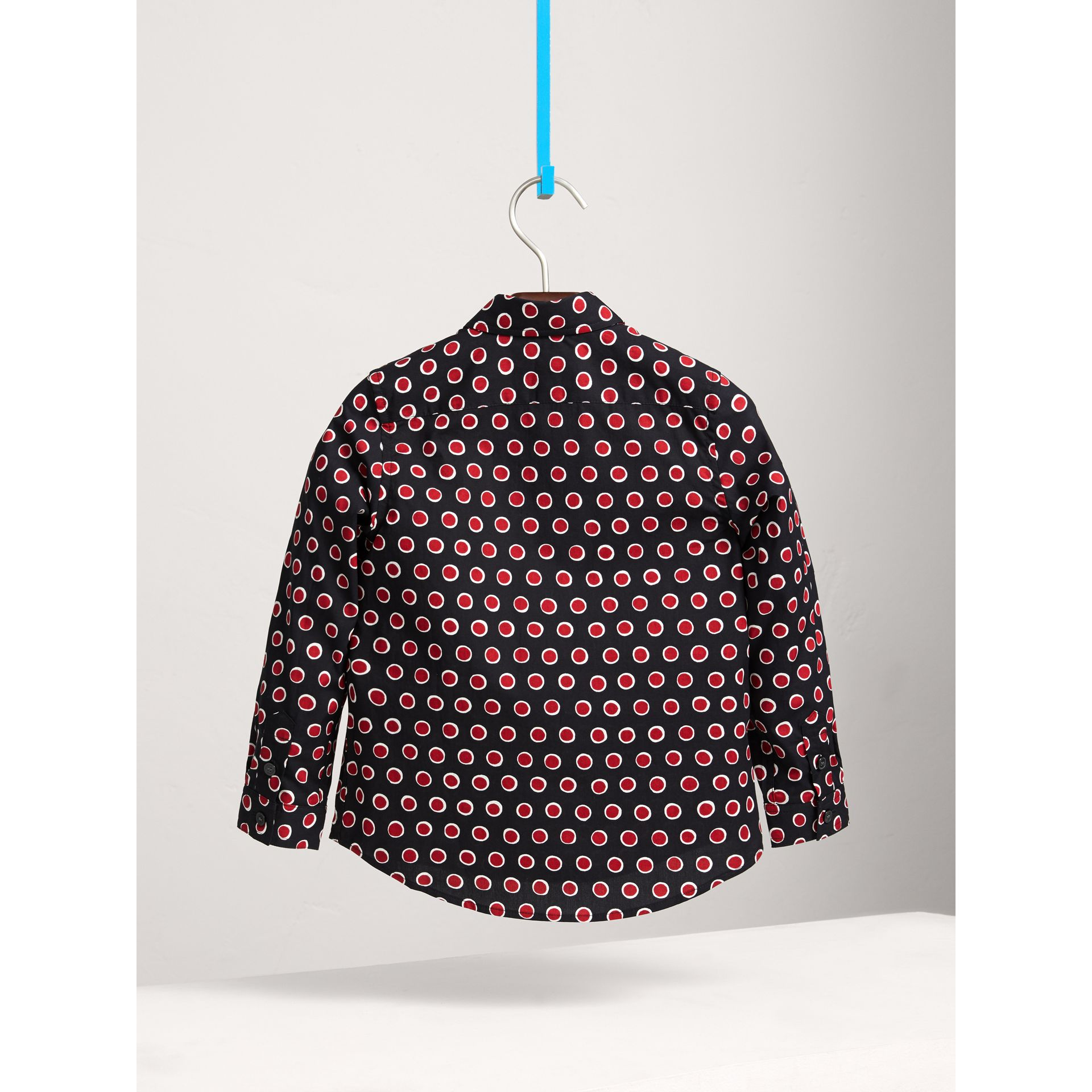 Spot Print Cotton Shirt in Parade Red | Burberry United Kingdom - gallery image 3