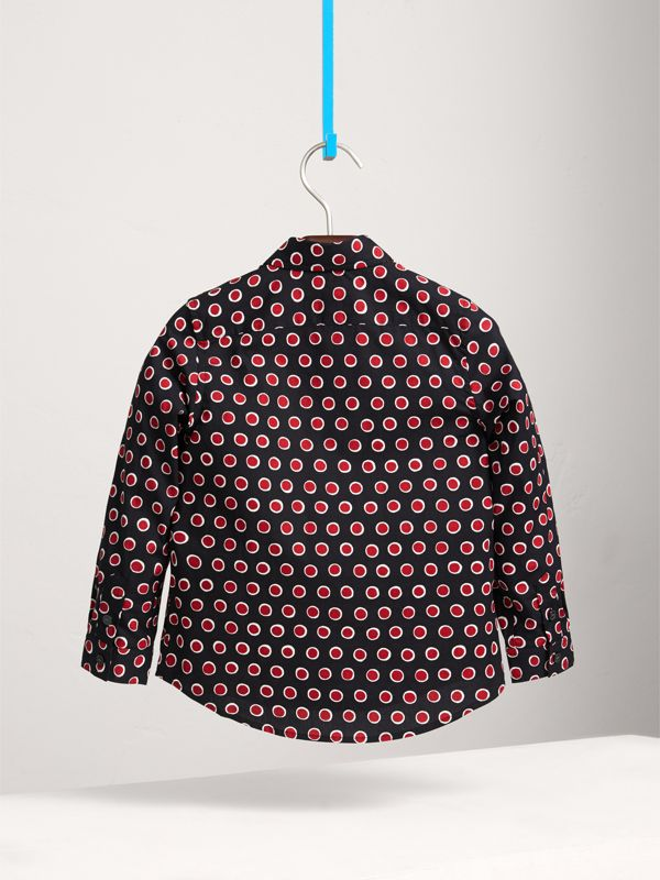 Spot Print Cotton Shirt in Parade Red | Burberry - cell image 3
