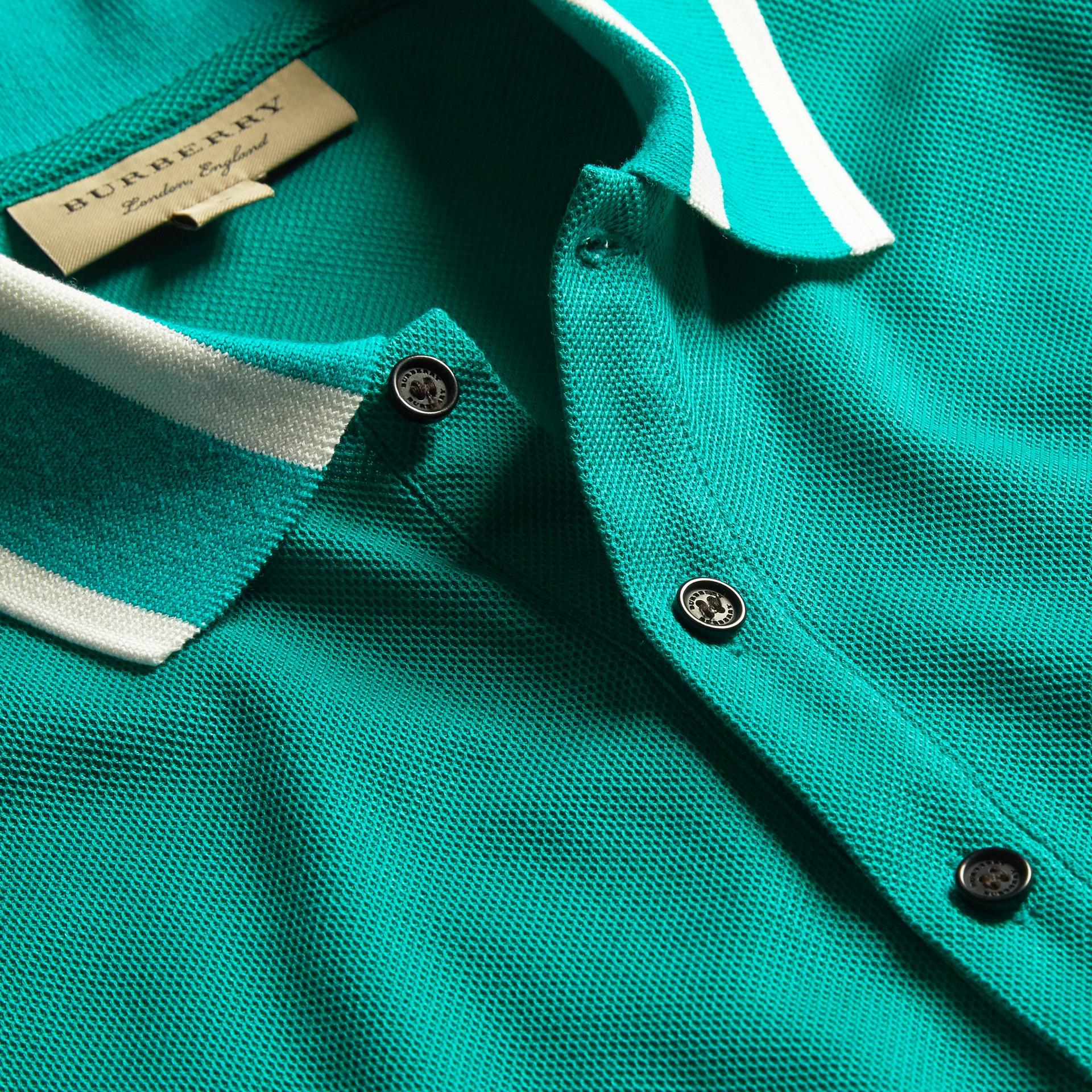 Striped Collar Cotton Piqué Polo Shirt Viridian Green - gallery image 2