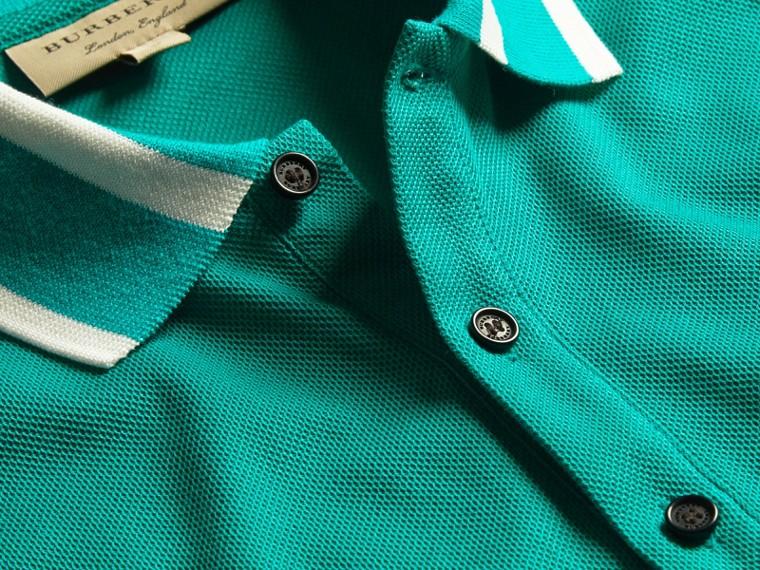 Striped Collar Cotton Piqué Polo Shirt Viridian Green - cell image 1