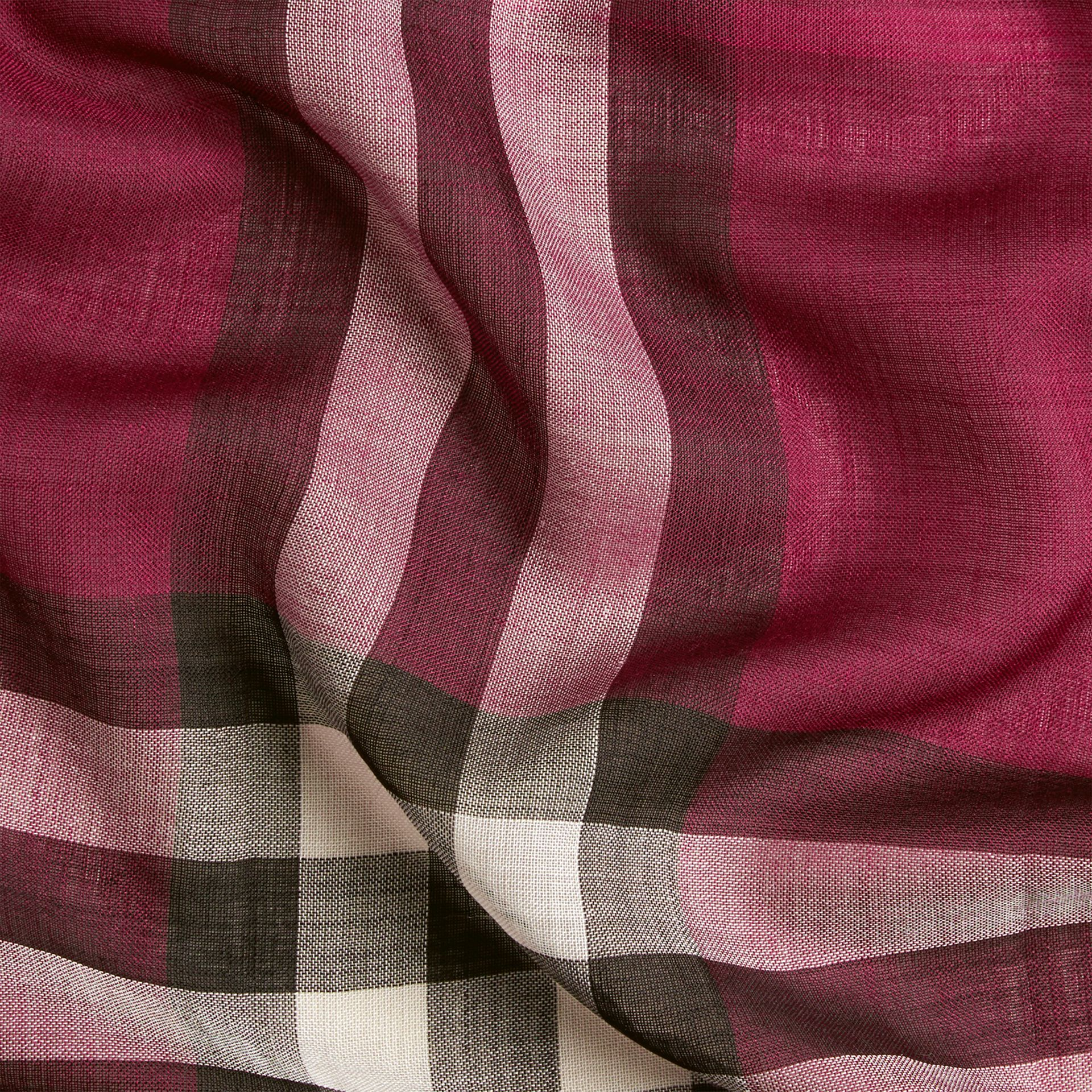 Lightweight Check Wool and Silk Scarf in Plum - gallery image 2