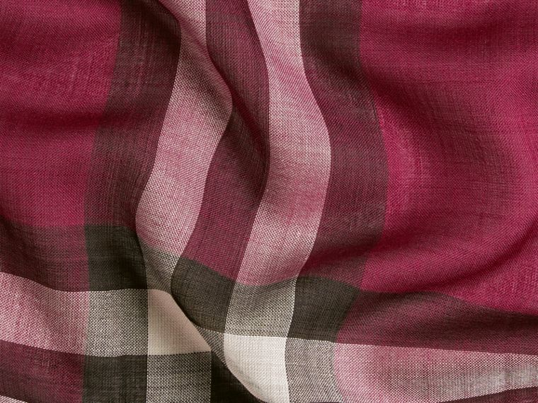 Lightweight Check Wool and Silk Scarf in Plum - cell image 1